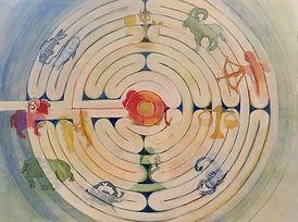 Tierkreis im Labyrinth, 48x35c, Mischt. Papier, 2018