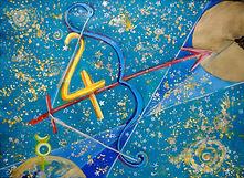 Schütze, 70x50cm, Acryl Goldpigment, 2015