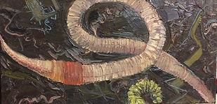 Tiere Regenwurm, 80x40cm, Öl Nessel, 1998