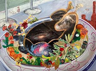 Stilvoll Essen, 80x60 cm, Collage/Malkarton, 2021