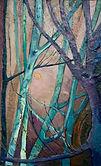 Bäume mit Mond, 50x80 cm, Öl/Leinwand, 2020