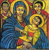 Maria koptisch, 40x45cm, Pastell Tapete, 2014