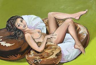 Auftragsarbeit, Hommage an Mel Ramos, 60x50 cm, Öl/Papier, 2021