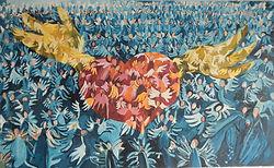 365 Engel im fliegenden Herz, 130x80cm, Öl Leinwand, 2008
