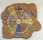 Felsmalerei/Astrologie_Lebensblume, 58x48, Sand,Pigment,Pappe, Acryl, 2016