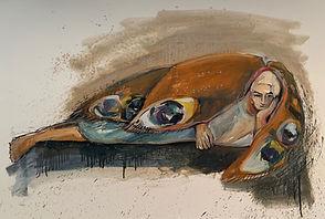 Schmetterlingsfrau, 70x100 cm, Kohle/Öl/Papier, 2020