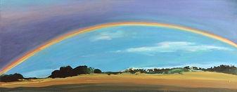 Regenbogen,_50x20cm_Öl,Tusche_Holzpaneel