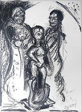 Mutter, Göttin, Kohlezeichnung, 2014