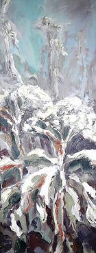 Winter Dolden im Schnee, 24x60cm, 1993