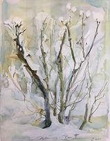 Winter Busch im Schnee, 27x36cm, Aquarell, 2005