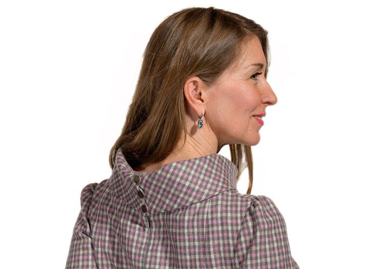 """Modell """"SINNLICHKEIT"""" - grau-rosa kariertes Kleid aus leichter Wolle"""