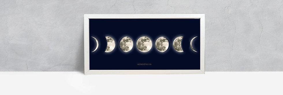 Mondzyklus auf Dunkelblau, Rahmen weiß