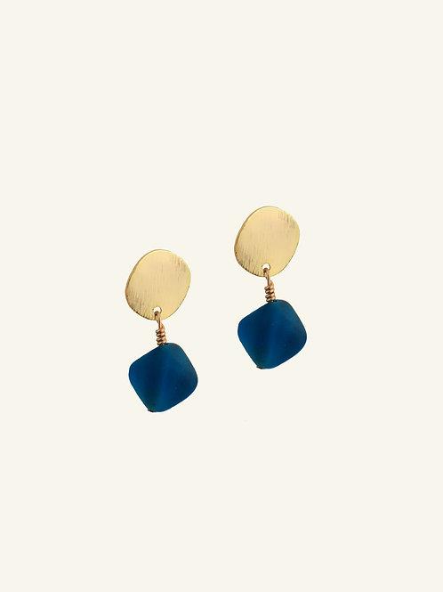 Boucles d'oreilles Treva - Verre recyclé bleu