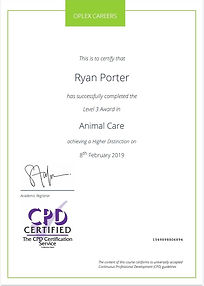 Animal care certificate