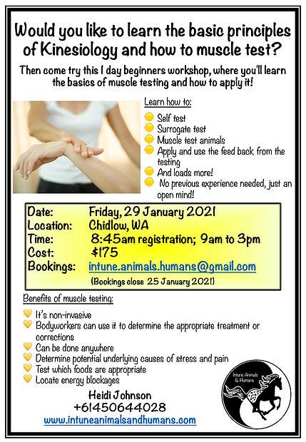 Basic Mucsle testing workshop - Chidlow