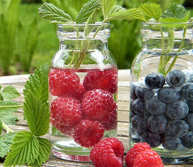 Blueberries and Rasberries in a jar.jpg