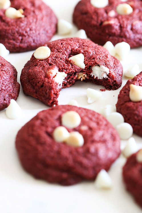 White Chocolate Red Velvet Cookies