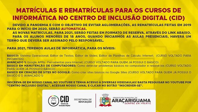 Matrículas e rematrículas para os cursos de informática no centro de inclusão digital (CID)