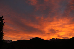 Vue de la terrasse - coucher du soleil