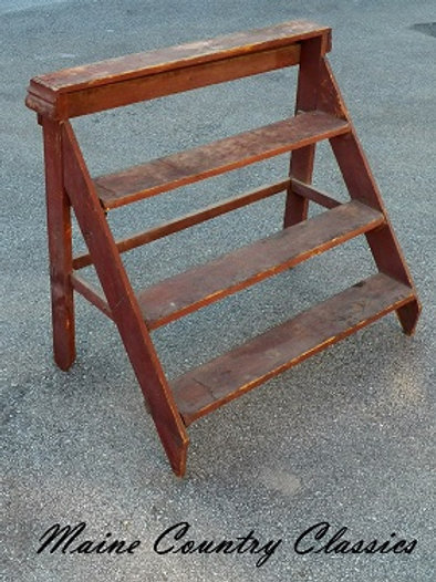 Antique Bucket Bench in Original Old Red Paint