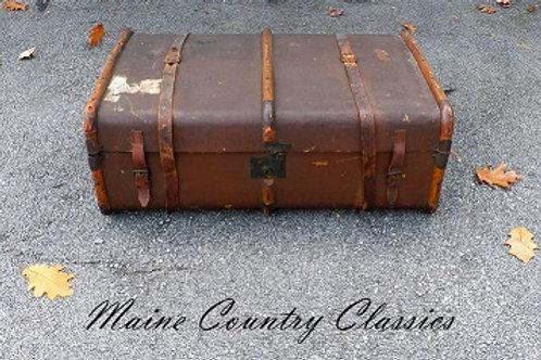 Antique Bentwood Banded Steamer Trunck