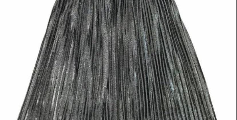 Metallic Foil Midi Skirt
