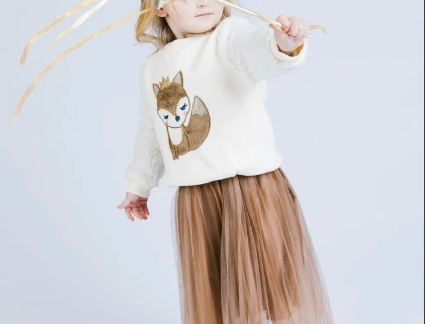 Elastic Waist Cocoa Pleated Tulle Skirt