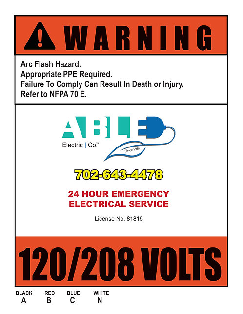 Able Electric _ Warning Stickers