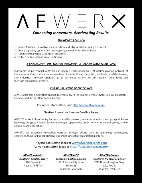 AFWERX- Connecting Innovators 1 page flyer