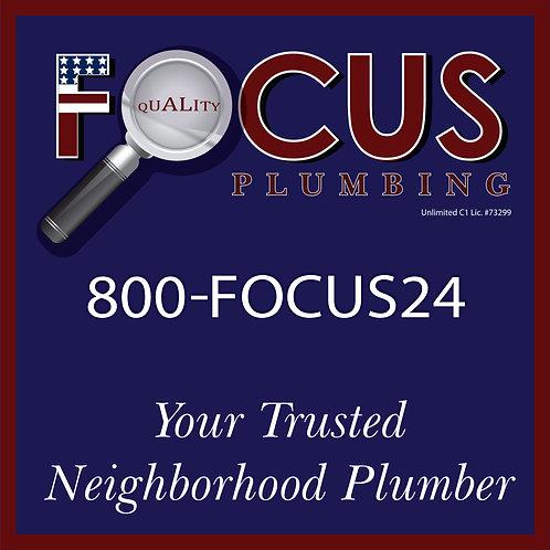 Focus - Yard Sign Neighborhood Plumber