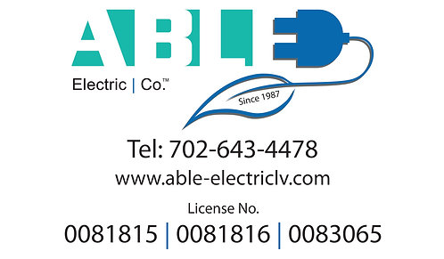 Able Electric - Business Card With Magnetic Back