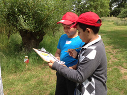 Year 3 Yudhveer and Ashmeet completing the orienteering trail at Wightwick Manor