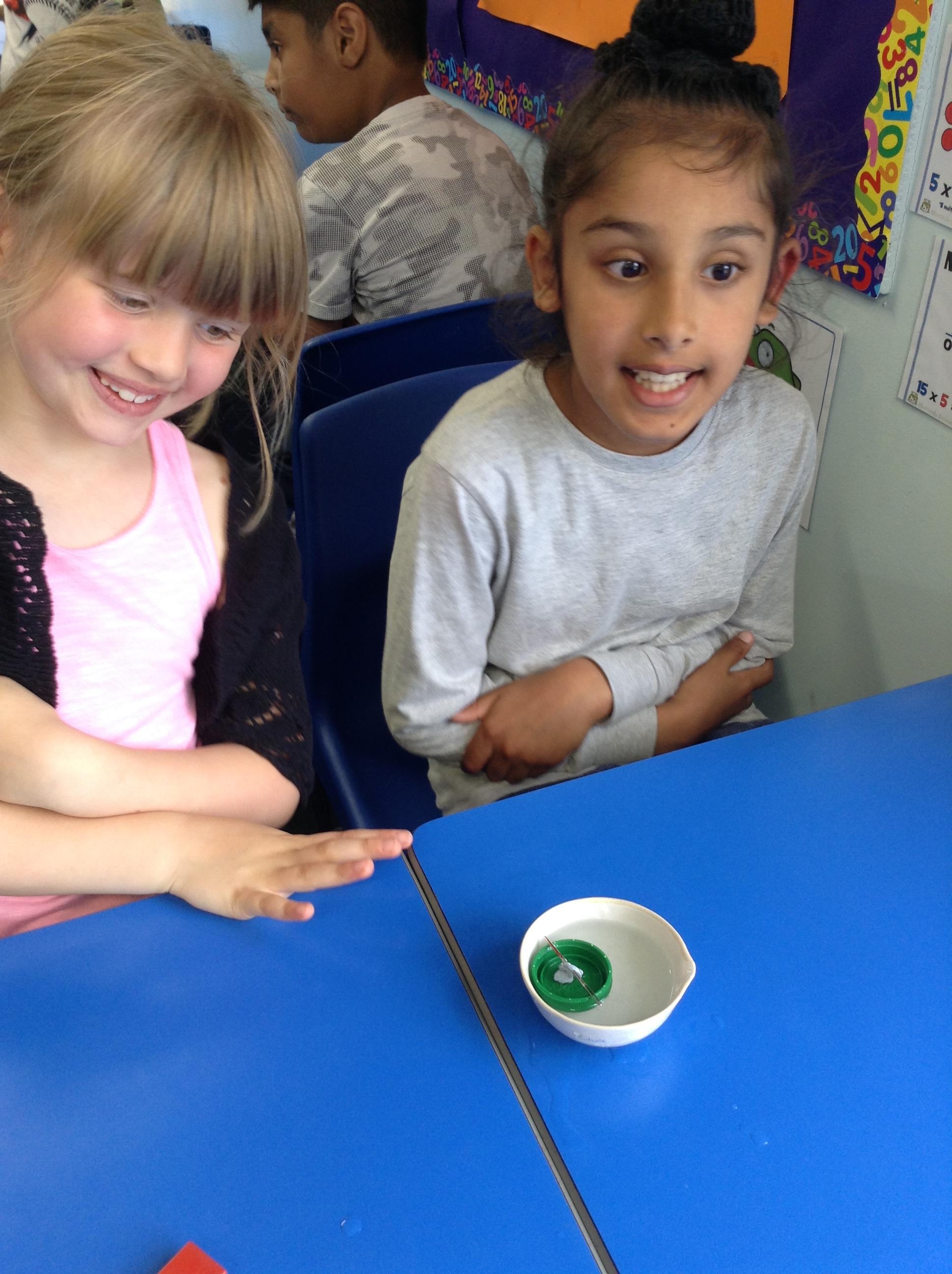 Year 3 Kasie and Gurvir making their own compass