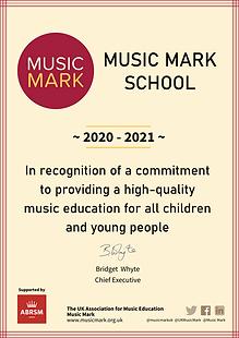 School Certificate 2020 2021 music mark.