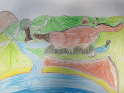 Year 5 Croc and Bird art work (1)