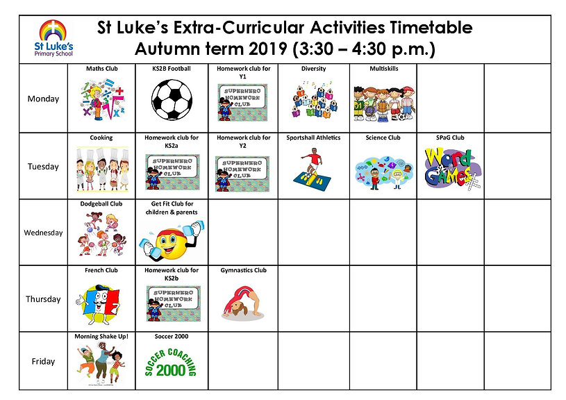 Extra-Curricular Activities (Autumn term