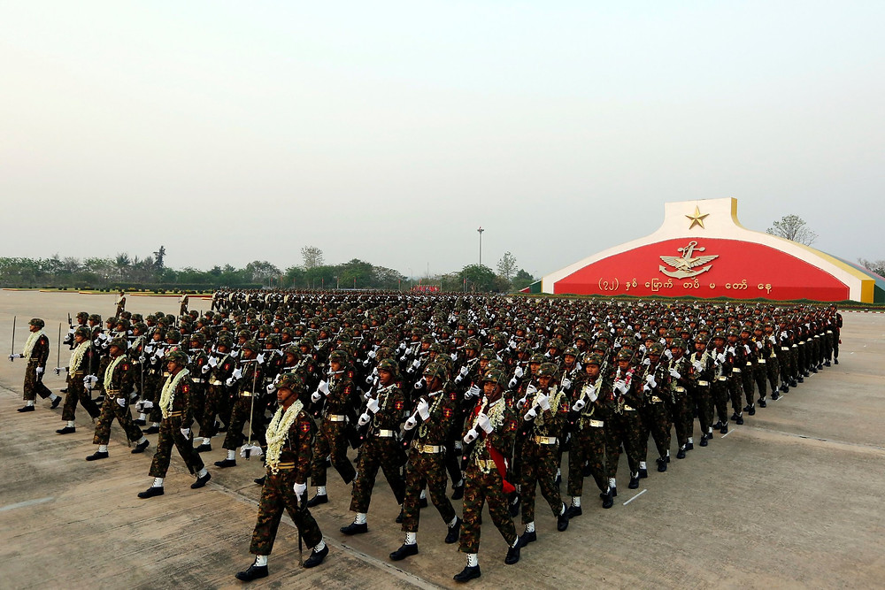 A military parade in Myanmar's capital, Naypyidaw, in March. The army has spent most of the past seven decades warring with its own people. Credit Soe Zeya Tun/Reuters
