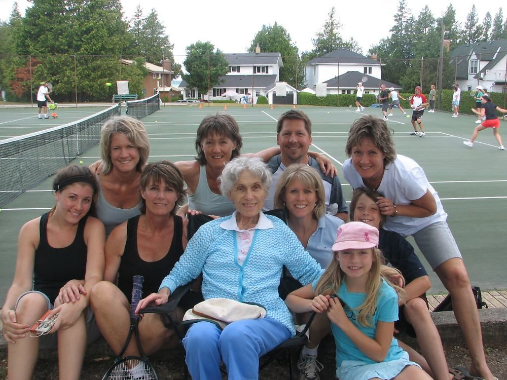 """Emma """"Emmy"""" Speed in July 2011 with her daughters, son-in-law and grandchildren in Southampton, Ontario. Credit Claire Speed"""