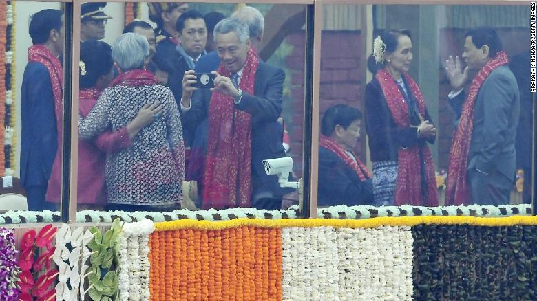 Myanmar's Aung San Suu Kyi, second from right, with Philippine leader Rodrigo Duterte in New Delhi.