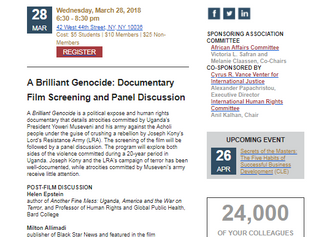 A Brilliant Genocide: Documentary Film Screening and Panel Discussion