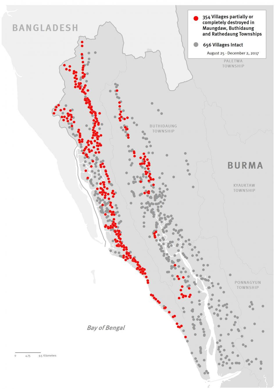 An updated map of destruction of Rohingya villages in northern Rakhine State during October and November 2017. © 2017 Human Rights Watch
