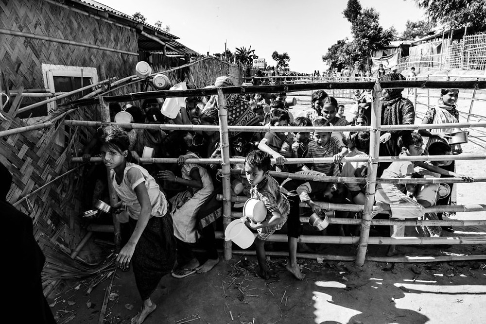 Fighting Hunger Rohingya refugees regularly line up at food distribution points in the camps in Bangladesh to wait for packages of rice, lentils and other staples. The U.N.'s World Food Program provides the bulk of the rations—and the United States has donated millions of dollars for food relief—but local groups also step in to donate edibles. Still, malnutrition is common among the Rohingya, many of whom led impoverished lives in Myanmar.   Szymon Barylski for Politico Magazine