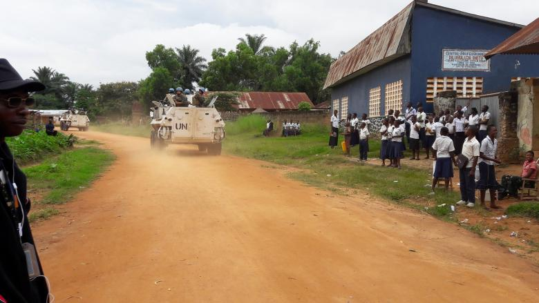 Uruguayan peacekeepers serving in the United Nations Organization Stabilization Mission in the Democratic Republic of the Congo (MONUSCO) patrol in their armoured personnel carrier in Tshimbulu near Kananga, the capital of Kasai-central province of the Democratic Republic of Congo, March 11, 2017. REUTERS/Aaron Ross