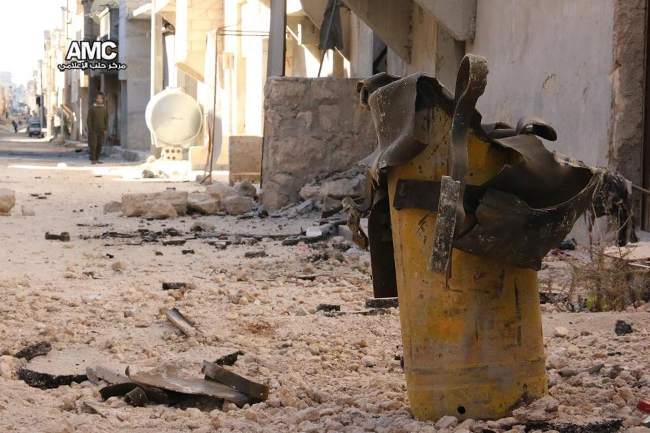 Photos showing the remnants of yellow gas cylinders found at the sites of attacks.