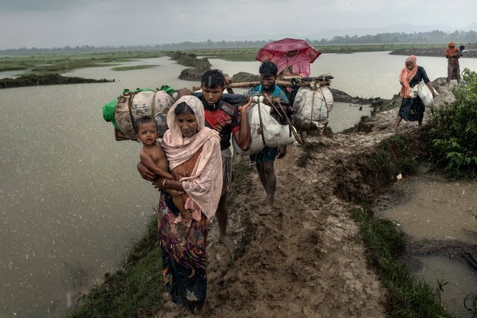 As many as 700,000 Rohingya refugees have crossed into Bangladesh, fleeing targeted violence against them in Myanmar. CreditAdam Dean for The New York Times