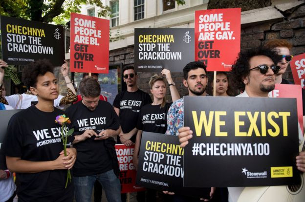 Gay rights activists protested outside the Russian embassy in London last summer