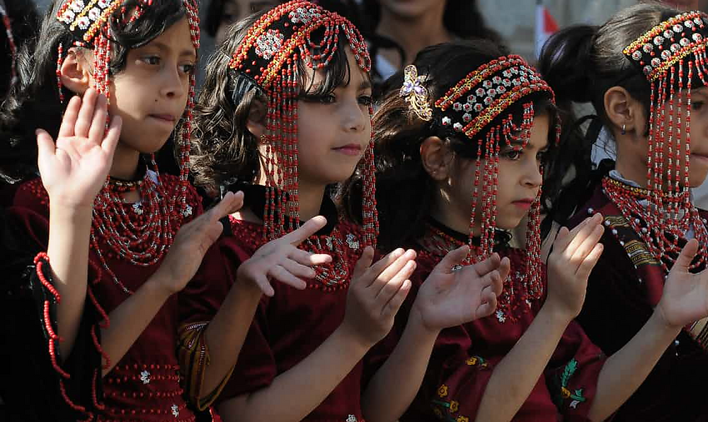 Yemeni girls take part in a fashion show held on 21 February in Sana'a to call for peace and an end of the ongoing war. Photograph: Mohammed Hamoud/Getty Images