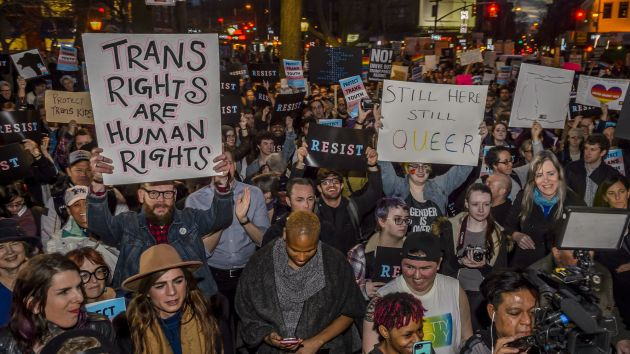 Protesters rally in New York against the Trump administration's decision in February to rescind protections for transgender students. Erik McGregor/AP