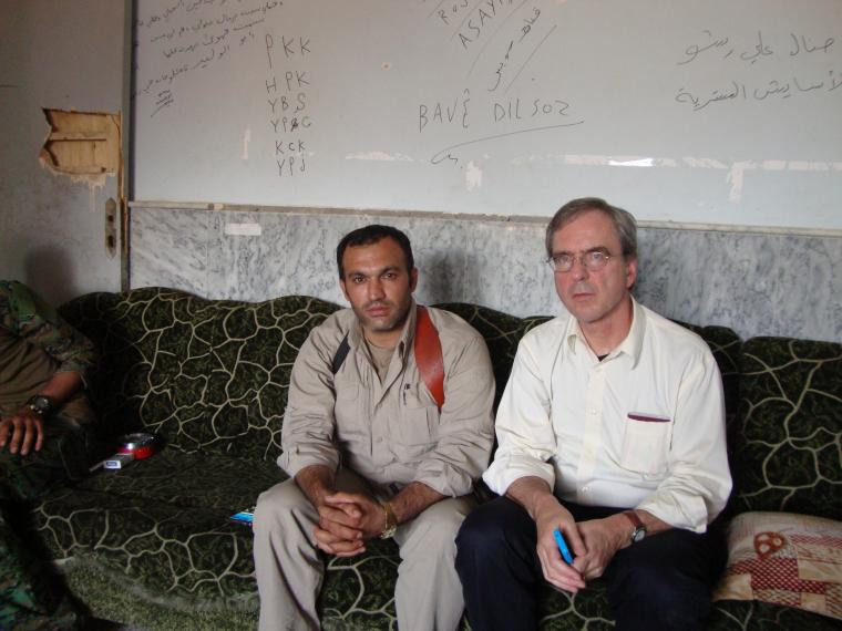 Crisis Group's MENA Program Director Joost Hiltermann meeting with YBŞ representative in Sinjar town, on September 2016. CRISISGROUP