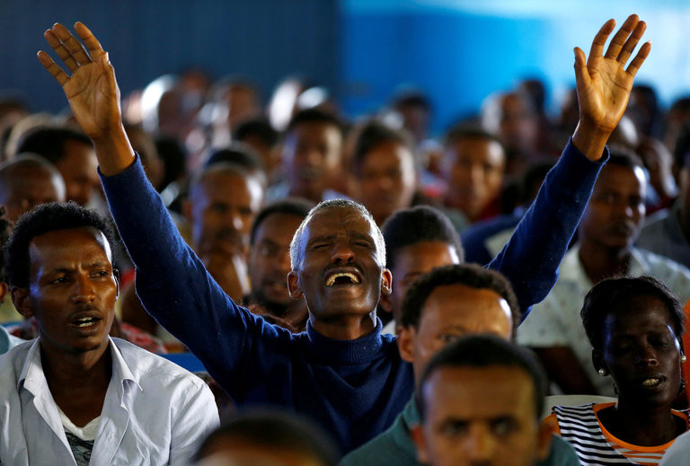 Mourners gathered for a time of prayer on Sunday in Addis Ababa, Ethiopia, and to remember those who were killed in a stampede last week when police broke up an antigovernment protest. Credit Tiksa Negeri/Reuters
